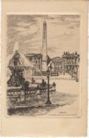 Paris France, Place De La Concorde, Signed 'L Robin'(?) Etching? Art Work - Prints & Engravings