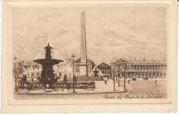 Paris France, La Place De La Concorde, Signed 'L G'(?) Etching? Art Work - Prints & Engravings
