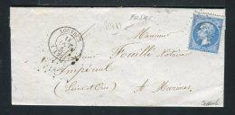 Lettre De Fosses Par Louvres Pour Marines 1867 - Postmark Collection (Covers)