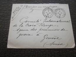 8é RA CAD  Trésor & Postes 1915 SP 67 Prisonnier Guerre 14-18 Lettre FM >Comité International Croix-Rouge Genève - Marcophilie (Lettres)