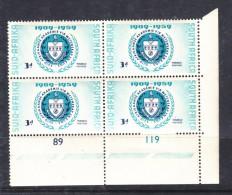 SOuth Africa 1959 Culture Acadamy, Control Block Of 4, MNH ** - Blocchi & Foglietti