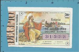 LOTARIA NACIONAL - 26.ª ORD. - 26.06.1992 - SÃO PEDRO - PESCADOR - Portugal - 2 Scans E Description - Lottery Tickets