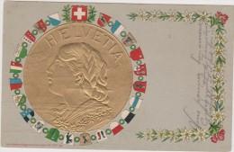 SUISSE,SWITZERLAND,SCHWEI Z,SVIZZERA,HELVETIA,CARTE POSTALE ANCIENNE,1906,piece D´or En Relief,symbole,liberté,pa   Trie - Suisse