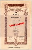 87 - LIMOGES - TRES RARE MENU ECOLE FERET DU LONGBOIS -27-11-1947- MANDON-JOLY- CARICATURE DE CHABERNAUD - Menus