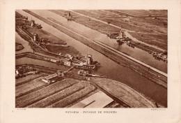 PLANCHE  -  PHOTOS  -  29 Cms X  20 Cms. - . PAYS-BAS : PAYSAGE DE POLDERS - Old Paper