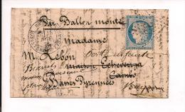 Ballon Monté Général Uhrich De Paris à Bordeaux, Bayonne, Cambo... - 1849-1876: Période Classique