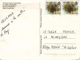 SEYCHELLES R 1.50 X2 CHAUVE SOURIS Sur CARTE POSTALE SEYCHELLES MULTIVUES - Seychelles (1976-...)
