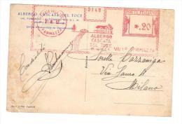"""EB1264  - EMA """"ALBERGO CASCATA DEL TOCE  VALLE FORMAZZA 1932"""" - Affrancature Meccaniche Rosse (EMA)"""