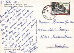 ITALIA 650 Lire LICEO GINNASIO GIUSEPPE PARINI à MILAN Sur CARTE POSTALE SERRAVALLE DI CHIENTI - 1946-.. République