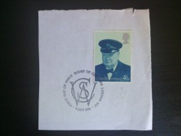 1974 G.B. Churchill Centenary - Used On Paper With FDC First Day Cancel - Usati