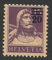 Switzerland, 20 C. On 15 C. 1921, Sc # 197, Mi # 160a, MNH - Svizzera