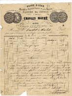 Facture - Filature De Coton - Charles Mathé - Niort - 1800 – 1899