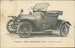 """AUTOMOBILE - """"TORPEDO"""" VINOT & DEGUINGAND 10 HP - 2 Places Avec Spider (BELLE VOITURE, Pare-brise Original) - Voitures De Tourisme"""