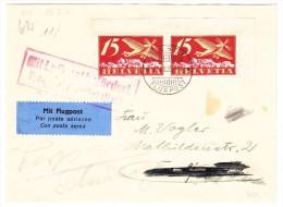 Flugpostbrief 18.8.25 Basel Flugpost Nach Frankfurt Weitergeleitet Nach Parpan - Poste Aérienne