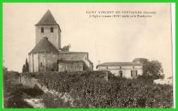 SAINT VINCENT DE PERTIGNAS L'Eglise Romane(XIVsiécle)et Le Presbytère (recto Verso) - France