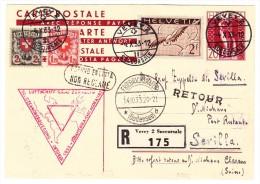 """Zeppelin GS-R-Karte 4.X.33 Vevey 2 Chicagofahrt Als """"non Réclamé"""" Retour Nach Clarens - Poste Aérienne"""