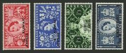 KUWAIT 1953 ROYALTY ROYAL QUEENS CORONATION GB OVERPRINTED SET MNH