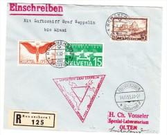 Zeppelin Chicago Fahrt 1933 Rot 14.X.33 Romanshorn R-Brief Nach Miami Retour Olten - Poste Aérienne