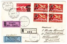 Urgent R-Luftpostbrief 30.VI.37 Basel Nach Küsnacht Transit Genève - 4er Block Zu#F19 - Poste Aérienne