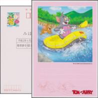 Japon 2000. Entier Postal Spécimen. Tom & Jerry, Chat Et Souris. Tom Et Jerry Font Du Rafting