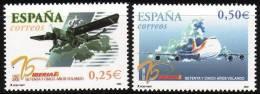 ESPAÑA 2002 - 75 ANIVERSARIO DEL PRIMER VUELO DE IBERIA - Edifil  Nº 3907-3908 - Yvert 3475-3476 - 1931-Aujourd'hui: II. République - ....Juan Carlos I
