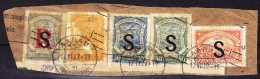 Scadta Marken Mit S (Schweiz) Aufdruck  LPHB#10, 14, 15, 18 + 21 Auf Briefstück - Poste Aérienne