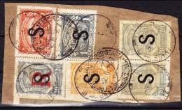 Scadta Marken Mit S (Schweiz) Aufdruck  LPHB#10, 13(x2), 17, 18 + 21 Auf Briefstück - Poste Aérienne