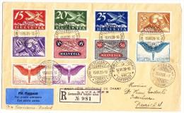 15.VII.28 XXIVe Fête Fédérale De Chant Stempel Auf Flugpost R-Brief Nach Zürich - Autres Documents