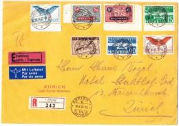 1. Schweiz. Automobil-Postbureau 18.V.37 Auf Express R-Flugbrief Nach Zürich - Poste Aérienne