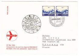 Zu#44C Waagrechtes Paar (Abart Stark Verschm. Druck) Auf Swissair Erstflug Suisse-Rio-Sao Paulo - Poste Aérienne