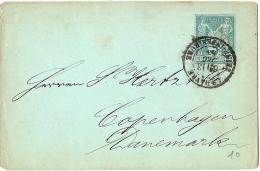 LCHA7B-  FRANCE EP ENVELOPPE TYPE SAGE 5c LE HAVRE / COPENHAGUE DECEMBRE 1883 (DEFAUTS) - Postal Stamped Stationery