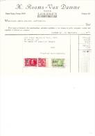 1928 Facture Lettre Invoice Rooms Van Damme Vins Lokeren Cru Du Roy Timbres Taxe - Belgique