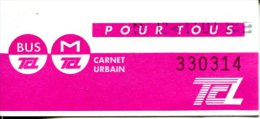 Ticket M�tro et bus de Lyon (France)