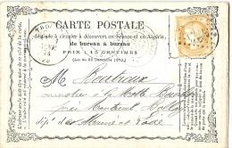 LCHA7B- FRANCE CPO PRIVEE DES CHEMINS DE FER DE VENDEE THOUARS / MONTREUIL BELLAY  10/1/1874 - Entiers Postaux
