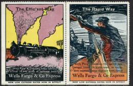USA Wells Fargo Poster Vignette Reklamemarke Cinderella Railway Railroad Eisenbahn Chemin De Fer TRAIN Steam Locomotive - Trains