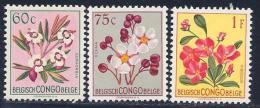 Belgian Congo, scott # 269-71 MNH Flowers, 1952