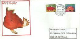 La Pêche Au Marlin Et Poisson Red Handfish, Cairns, Gold Coast, (Grande Barrière De Corail) Belle Enveloppe D´Australie - 1980-89 Elizabeth II