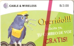 TARJETA DE PANAMA DE CABLE & WIRELESS DE B/.3.00 DE UN LORO-PARROT (NUEVA-MINT) - Panamá