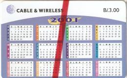 TARJETA DE PANAMA DE CABLE & WIRELESS DE B/.3.00 CALENDARIO AÑO 2001 (NUEVA-MINT) - Panamá