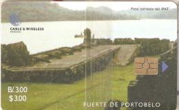 TARJETA DE PANAMA DE CABLE & WIRELESS DE B/.3.00 DEL FUERTE DE PORTOBELO  (NUEVA-MINT) - Panamá