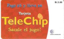 TARJETA DE PANAMA DE CABLE & WIRELESS DE B/5.00 TELECHIP SACALE JUGO - Panamá