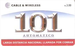 TARJETA DE PANAMA DE CABLE & WIRELESS DE B/3.00 AUTOMATICO 101 - Panamá