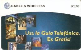 TARJETA DE PANAMA DE CABLE & WIRELESS DE B/5.00 USA LA GUIA TELEFONICA - Panamá