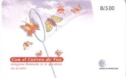 TARJETA DE PANAMA DE CABLE & WIRELESS DE B/5.00 CORREO DE VOZ (MARIPOSA-BUTTERFLY)