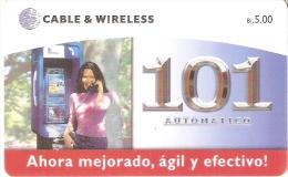 TARJETA DE PANAMA DE CABLE & WIRELESS DE B/5.00 AUTOMATICO 101 - Panamá