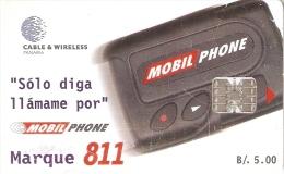 TARJETA DE PANAMA DE CABLE & WIRELESS DE B/5.00 DE MOBIL PHONE