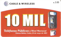 TARJETA DE PANAMA DE CABLE & WIRELESS DE B/3.00  10 MIL TELEFONOS PUBLICOS - Panamá