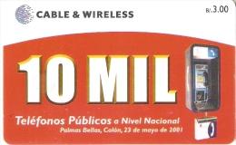 TARJETA DE PANAMA DE CABLE & WIRELESS DE B/3.00  10 MIL TELEFONOS PUBLICOS