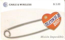 TARJETA DE PANAMA DE CABLE & WIRELESS DE B/5.00 TELETON MISION IMPERDIBLE