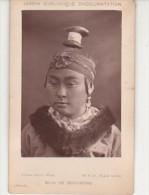 PHOTO CDV PARIS JARDIN ZOOLOGIQUE D'ACCLIMATATION Visage de Femme du Tibet Costume Phographe Pierre PETIT 13 x 8 cms